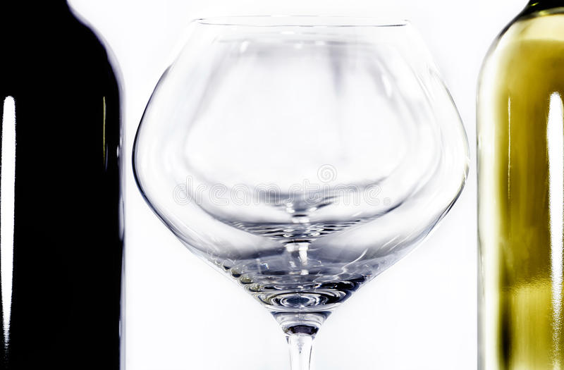Bottle red and withe wine and glass II royalty free stock photography