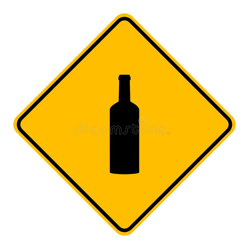 Bottle and road sign. As vector illustration stock illustration