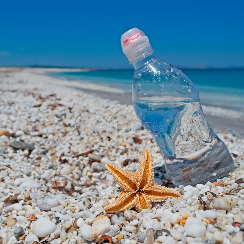 Bottle, sea star and sun. Bottle of water and sea star on white pebbles under a shining sun royalty free stock photography