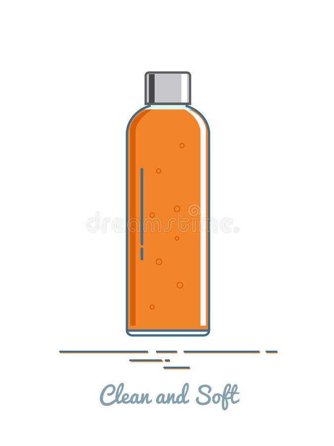 Bottle with shampoo or shower gel. Vector illustration. stock photography