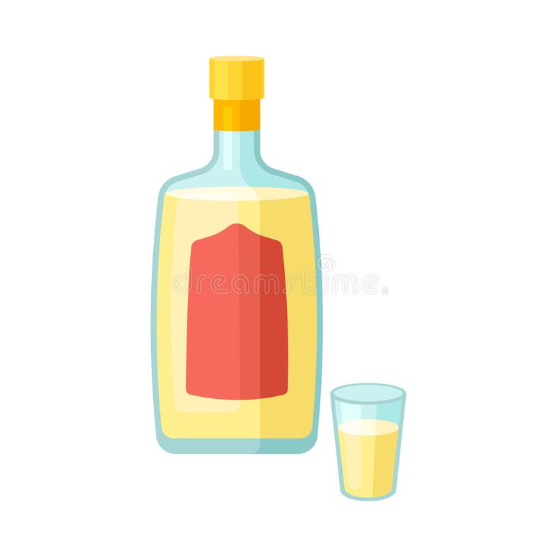 Glass bottle with yellow liquid. Vector illustration on white background. royalty free illustration