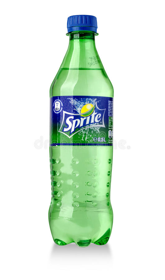 Bottle of Sprite drink. CHISINAU, MOLDOVA-November14, 2015: Bottle of Sprite drink isolated on white. Sprite is lemon-like flavored soft drink produced by Coca stock photography