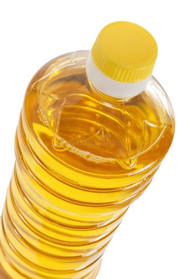 Bottle of sunflower oil closeup isolated stock photos