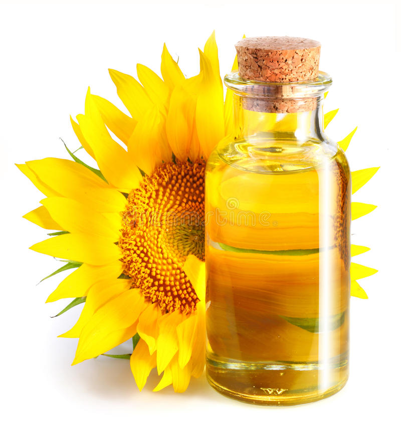 Download Bottle Of Sunflower Oil With Flower. Stock Photo - Image: 16537472