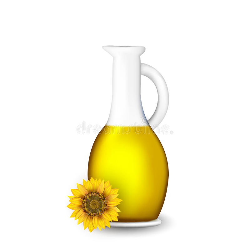 Bottle of sunflower oil with flower isolated on white.  vector illustration