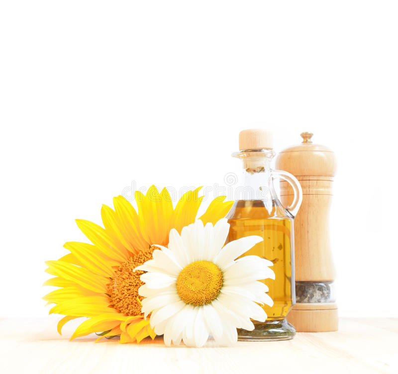 Bottle of sunflower oil. royalty free stock photos