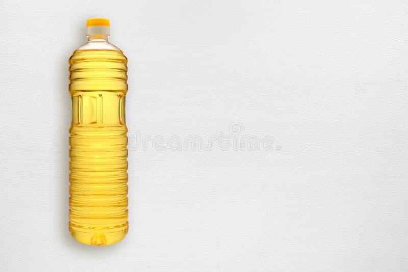 Bottle of sunflower oil on table stock photo