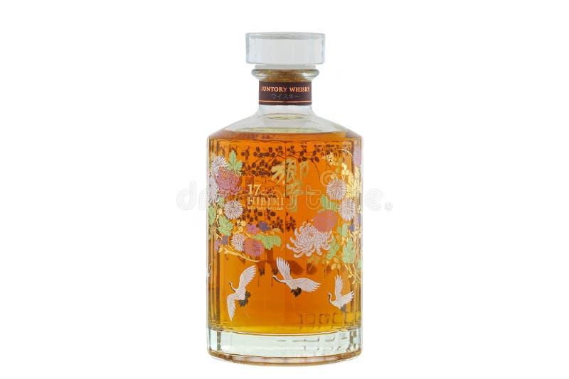 A bottle of Suntory Hibiki 17 years old isolated on white stock photo