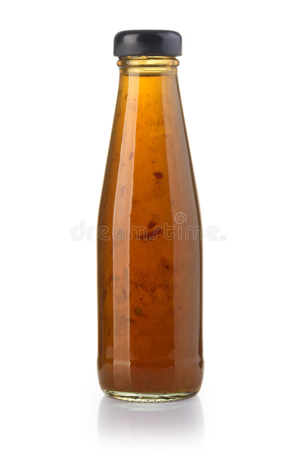 Bottle of sweet asian chili sauce. Isolated on the white background with clipping path royalty free stock photos