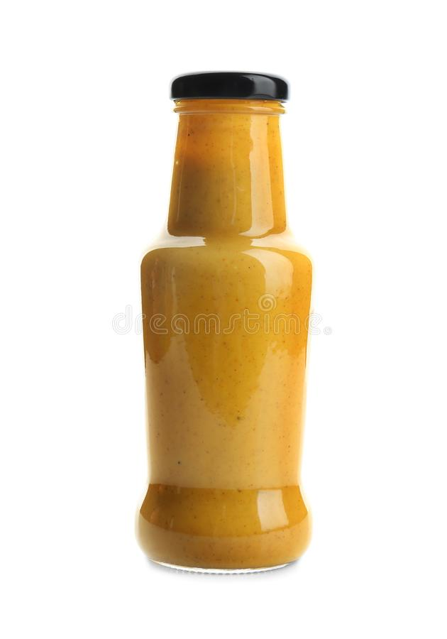 Bottle with tasty sauce for salad stock photography