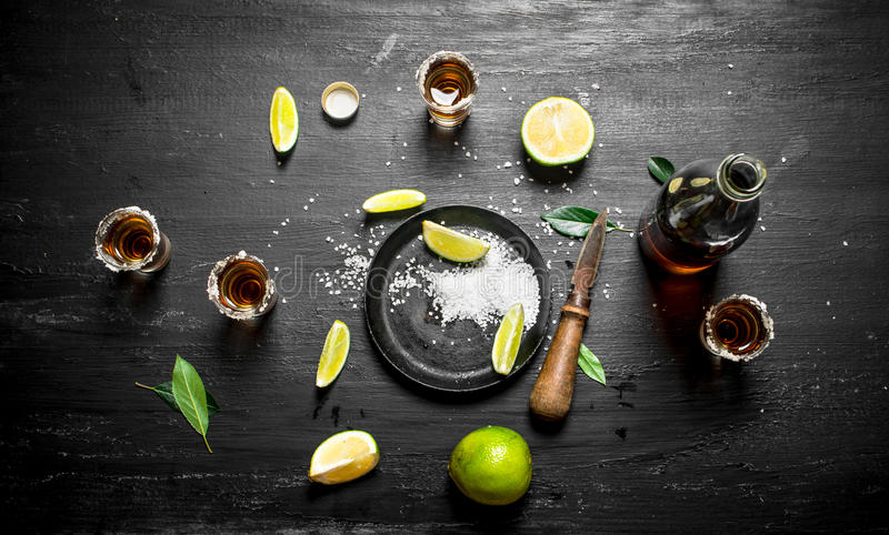 Bottle of tequila with shot glasses, fresh lime and salt. royalty free stock images