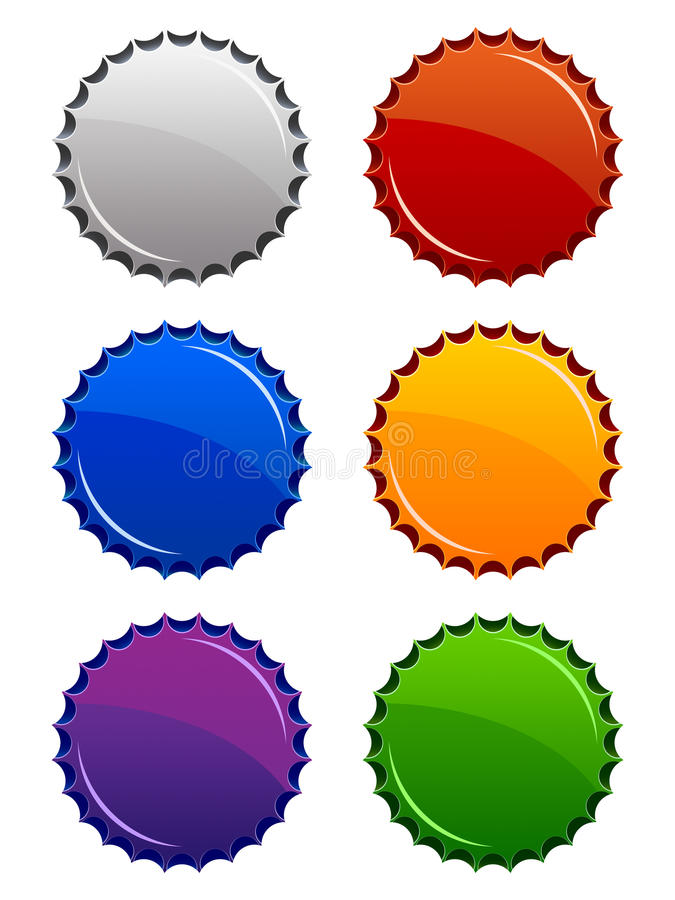 Bottle Tops. A set of six glossy bottle top icons in various colors stock illustration