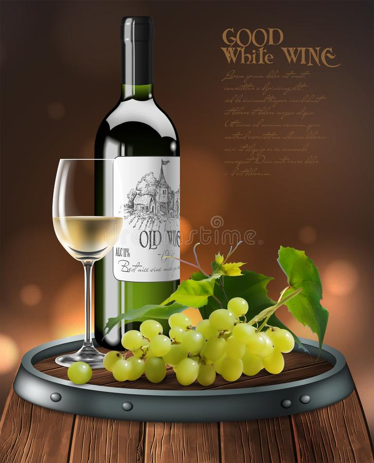 Bottle, glass of white wine and bunch of grapes  on a wooden barrel. 3D vector. High detailed realistic illustration. Bottle, transparent glass of white wine royalty free illustration