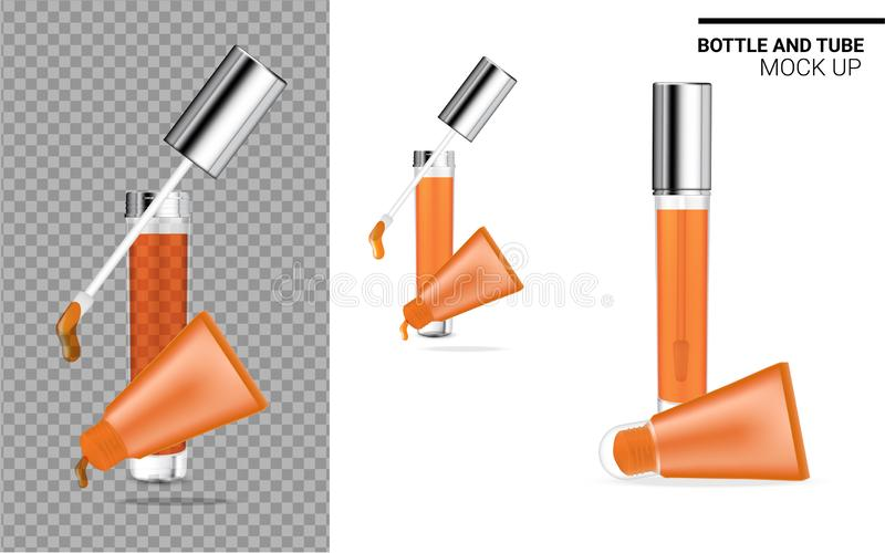 Bottle and Tube Mock up Realistic Transparent, Orange Cosmetic. Health care and Medical Product Packaging for Lipgloss and Lips royalty free illustration