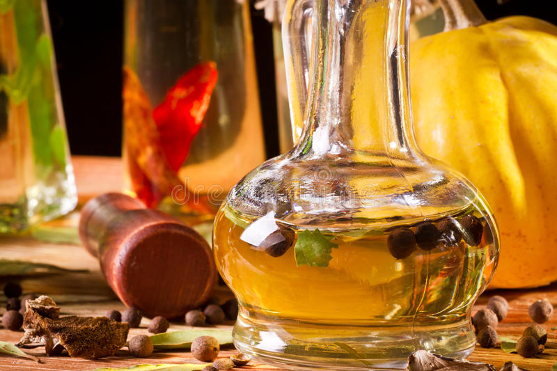 Bottle with vegetable oil stock images