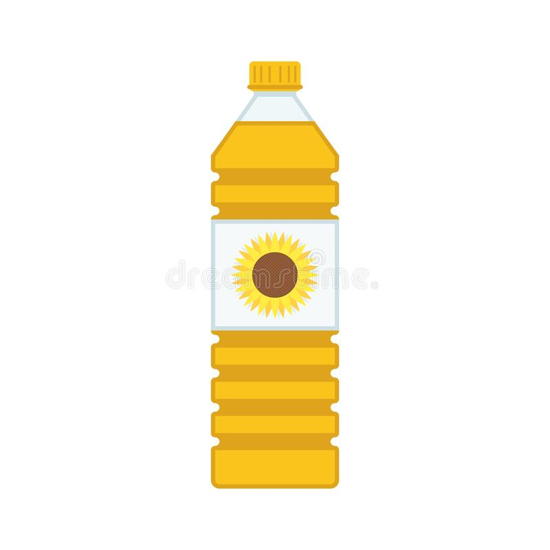 Bottle of vegetable oil. Bottle of vegetable oil in flat style. Sunflower Oil plastic bottles isolated on white background. Vector illustration EPS 10 royalty free illustration