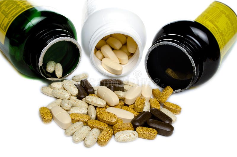 3 Bottle of vitamins royalty free stock photo