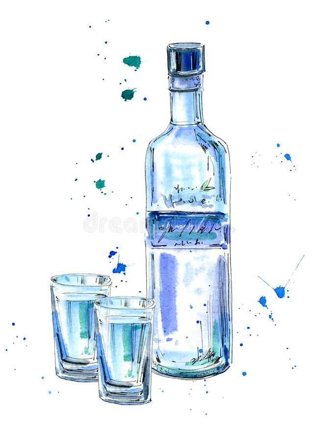 Bottle of vodka and glasses. Picture of a alcoholic drink.Watercolor hand drawn illustration.Isolated sketch royalty free illustration