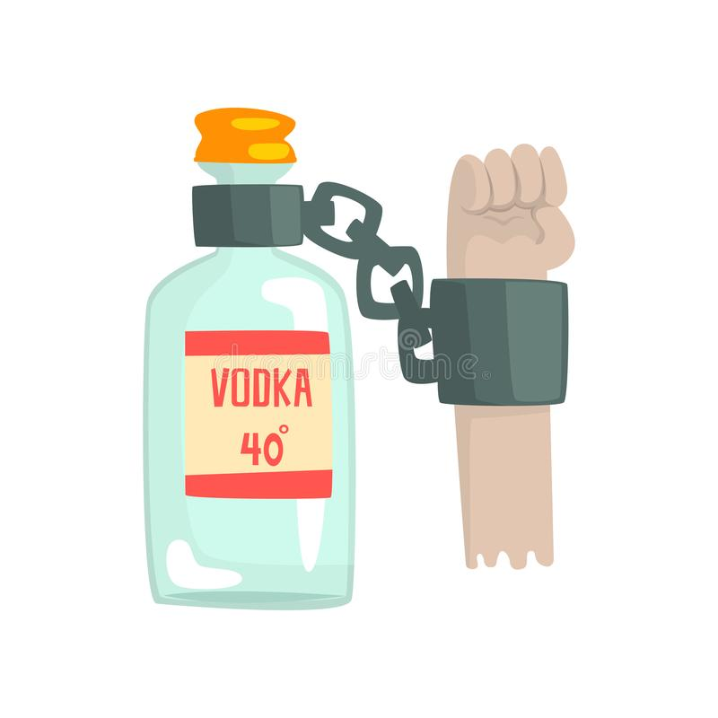Bottle of vodka with shackles, bad habit, alcoholism concept. Cartoon vector Illustration on a white background royalty free illustration