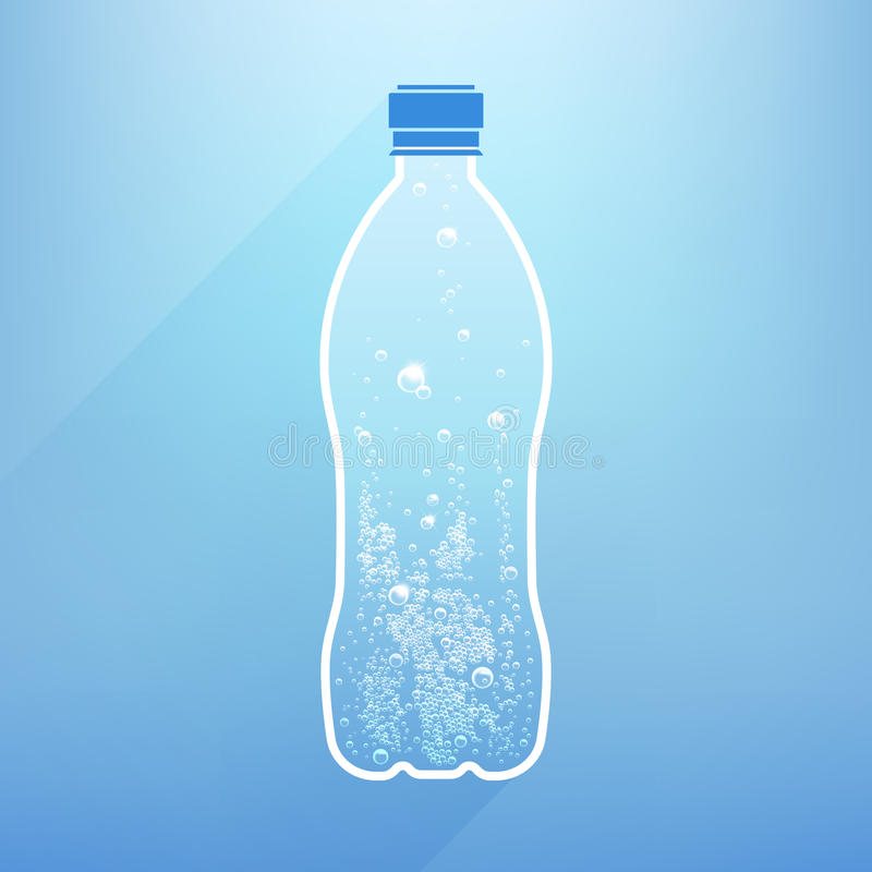 Bottle Water. With bubbles on a blue background stock illustration
