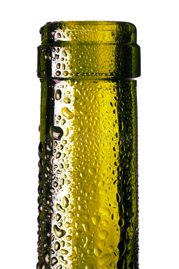Bottle with water drops stock photography