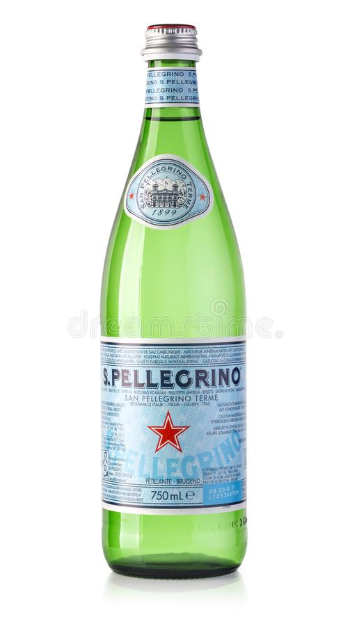 Bottle of water isolated. CHISINAU, MOLDOVA - December, 15: 2017: bottle of San Pellegrino water isolated on white background. Owned by Neste since 1997, San royalty free stock photos