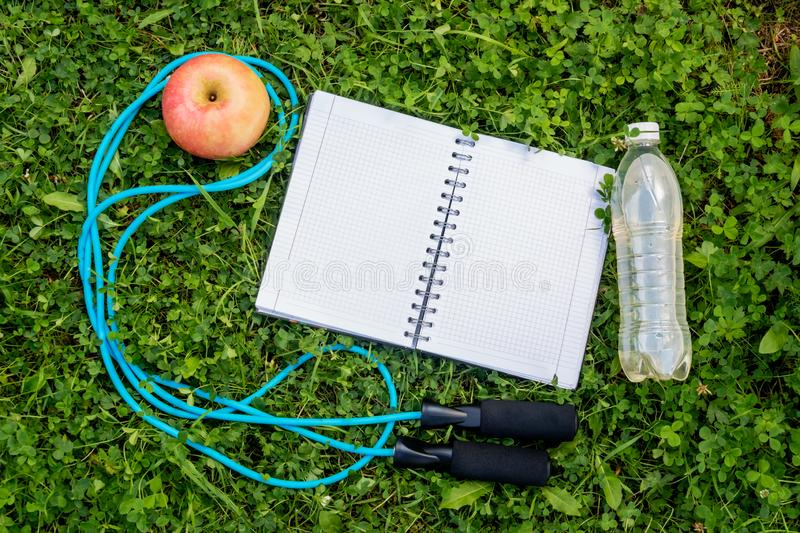 Bottle of water, notebook, apple and skipping rope. On fresh green grass. Top view, copy space stock photo