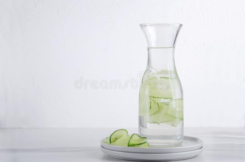 Bottle of water with pieces of cucmber.Healthy organic drink stock photography