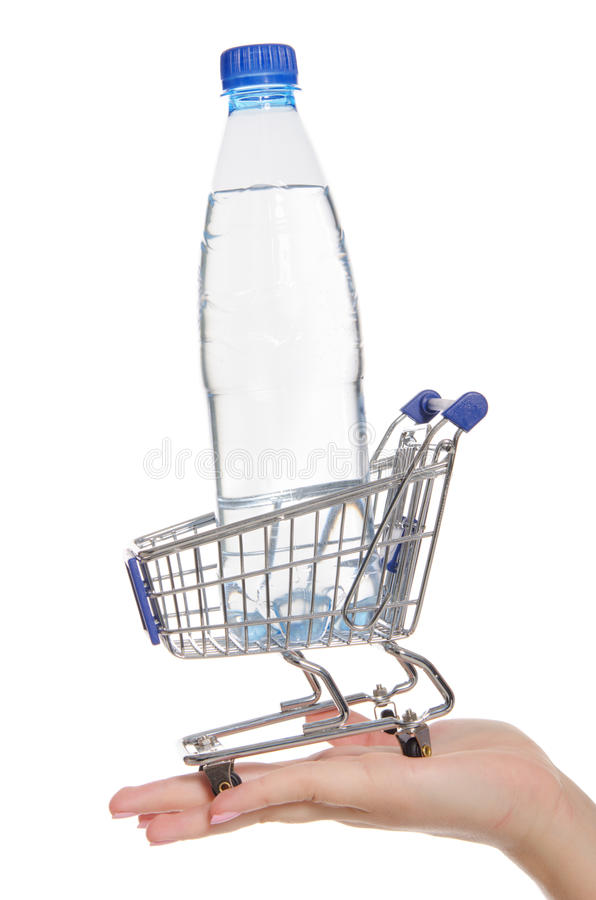 Download Bottle Of Water In Shopping Trolley On The Palm Stock Image - Image: 24348351