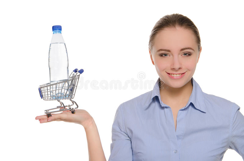 Download Bottle Of Water In Shopping Trolley On The Palm Stock Image - Image: 24363987