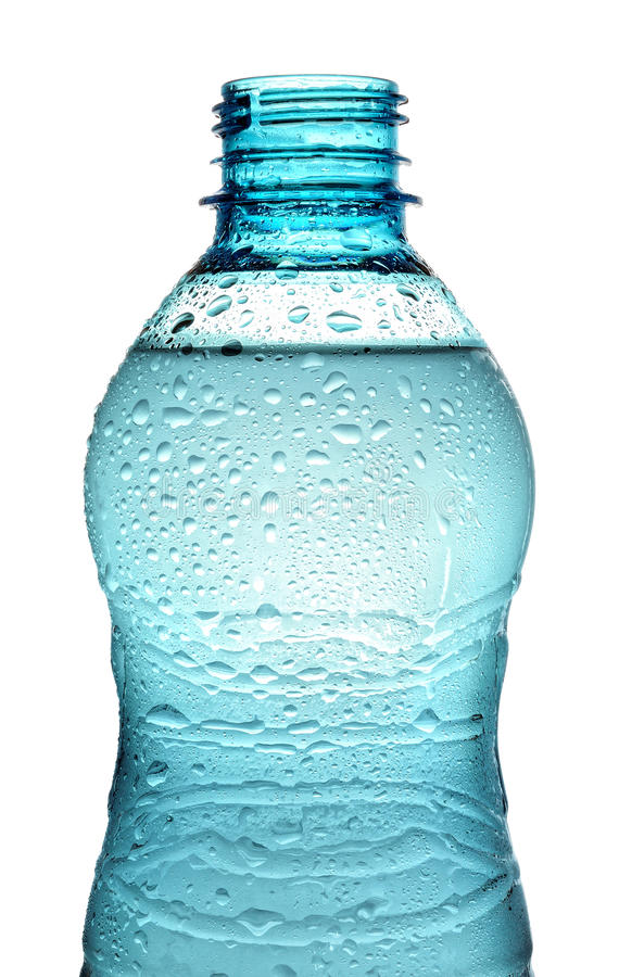 Bottle with water splash isolated stock photos