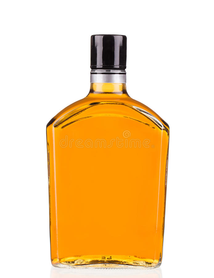 Bottle of whiskey. On a white background royalty free stock photos