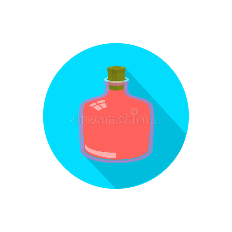 Bottle. on a white background in a bright circle royalty free illustration