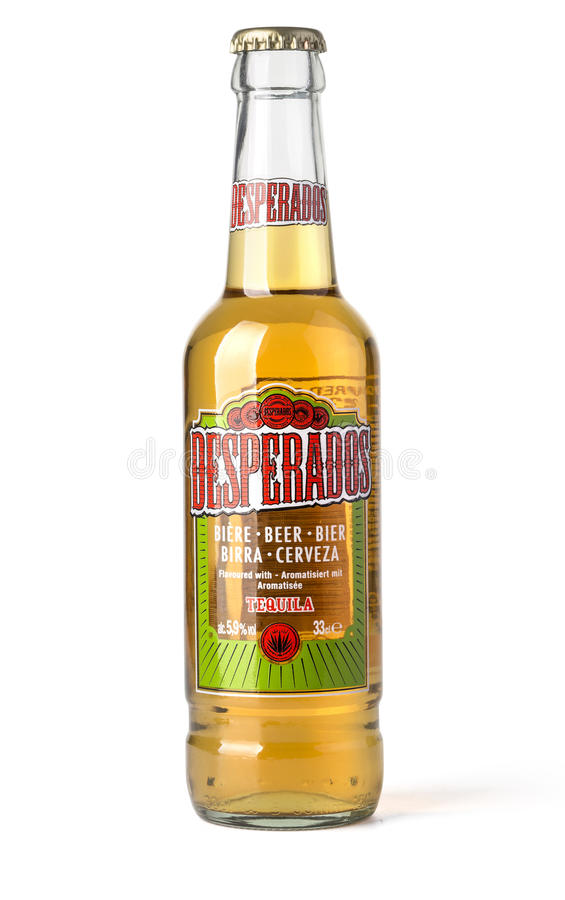 Bottle on white background. Chisinau, Moldova- April 27, 2017: Bottle on white background,Desperados, a pale lager flavored with tequila is produced by Heineken royalty free stock images