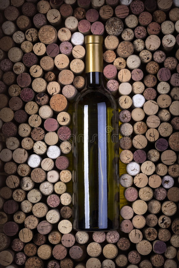 Bottle of white wine royalty free stock photo