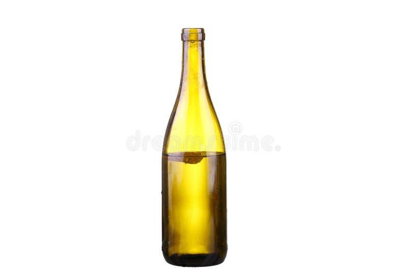 Bottle of white wine on isolated reflective white. Background stock images