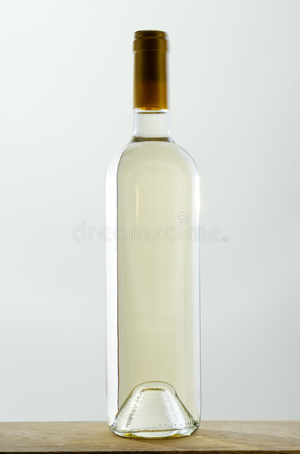 Bottle of white wine without label royalty free stock image