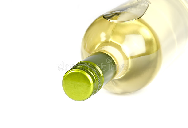 Bottle of White Wine with Screwcap on Its Side royalty free stock photo