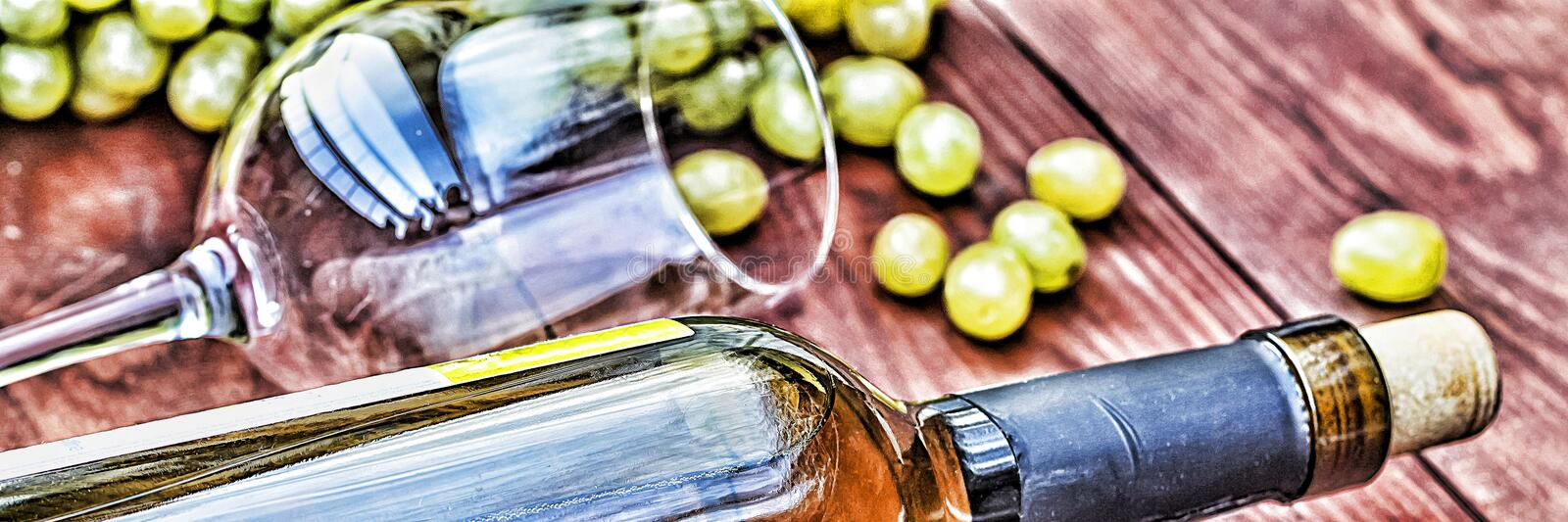 Bottle of white wine. Thanksgiving. royalty free stock images