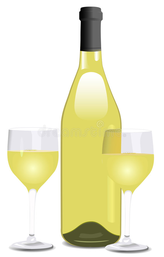 A Bottle of White Wine and Two Glasses royalty free illustration