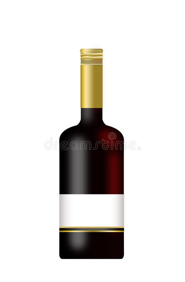 Download Bottle Of Wine With A Blank Label Isolated Stock Illustration - Image: 11808746