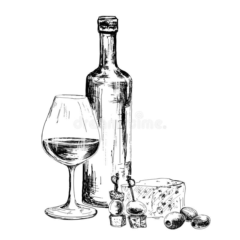 Bottle of wine and blue cheese stock photo