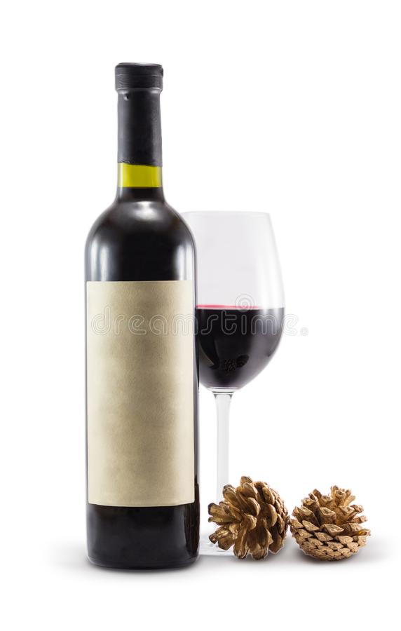A bottle of wine and cones on a white background stock photography