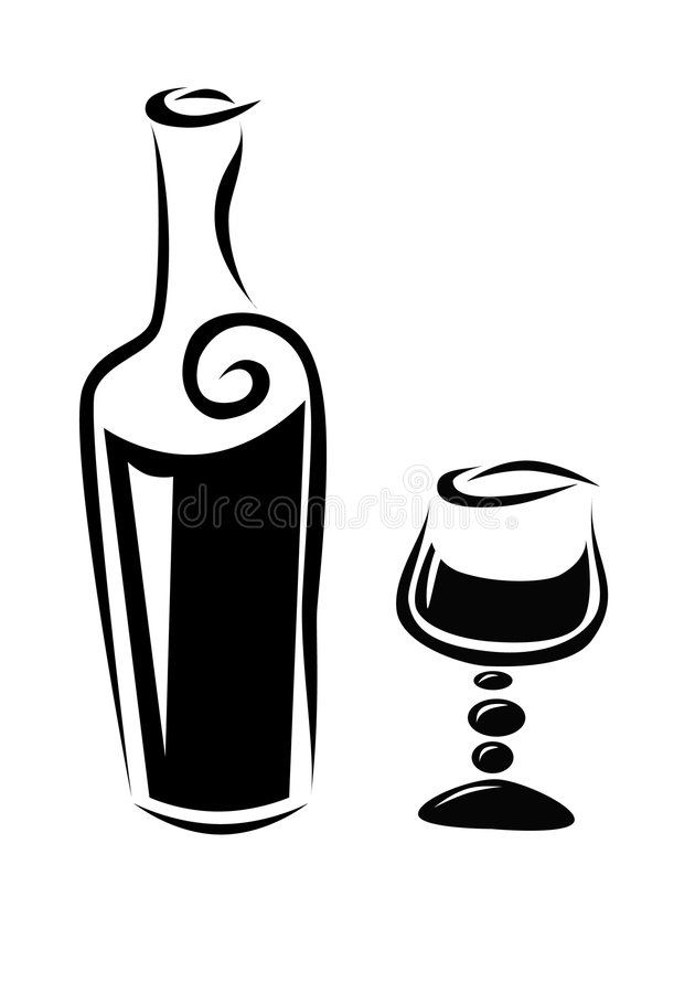 Bottle of wine and a glass royalty free illustration