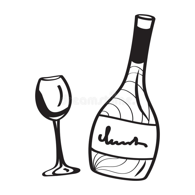 A bottle of wine and a glass. In a contour style royalty free illustration
