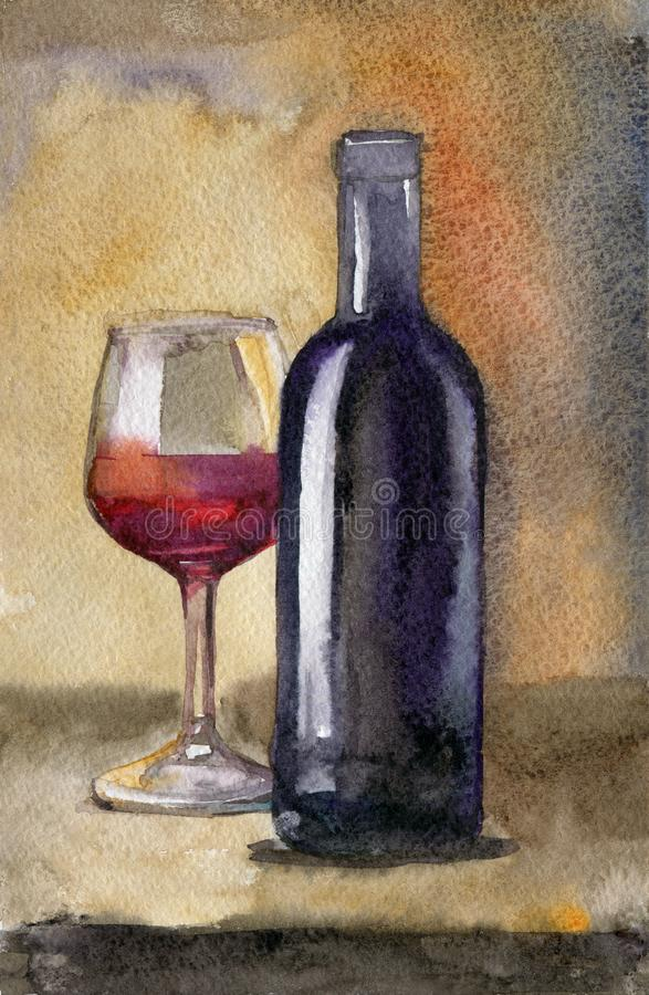 Bottle of wine with glass on dark background, still life watercolor vector illustration