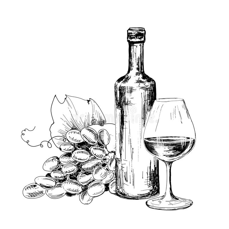 Bottle of wine, glass and grapes stock images