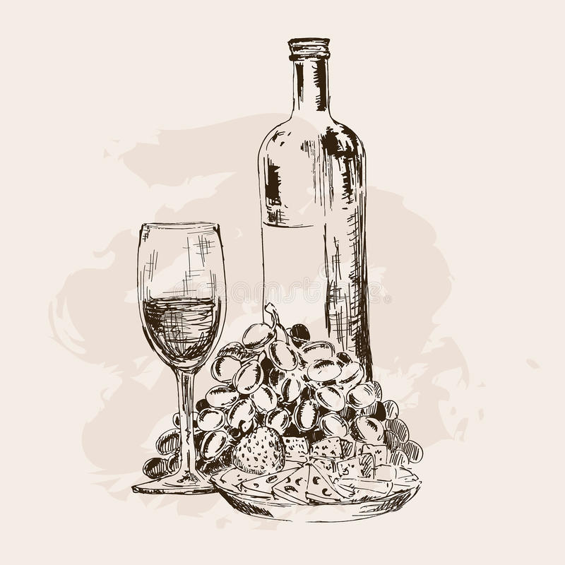Bottle of wine, glass, grapes and snacks royalty free stock photo