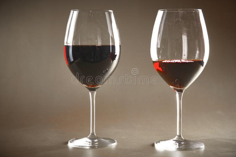 Bottle of wine and glass on the table stock photo