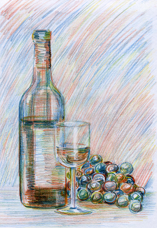 Bottle of wine and grapes. Still life, a bottle of wine, wineglass and grapes. Multicolor pencil, an interesting drawing technique, every time a line is drawn royalty free illustration